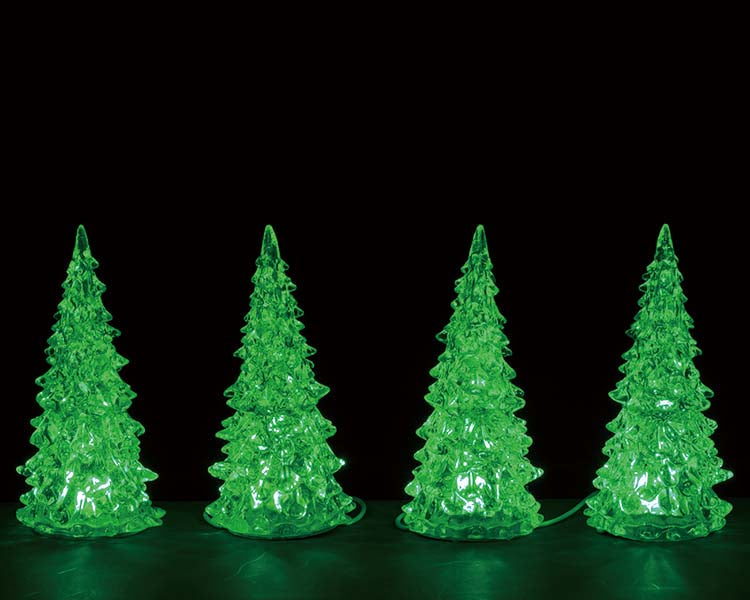 Lemax 94518 Crystal Lighted Tree, 3 Color Changeable Small, Set of 4, Accessory- Gift Spice