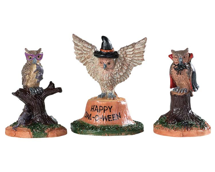 Lemax 94524 Happy Owl-O-Ween, Set of 3, Accessory- Gift Spice