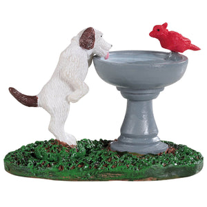 Lemax 94535 Bird Bath Dog Fountain, Accessory- Gift Spice
