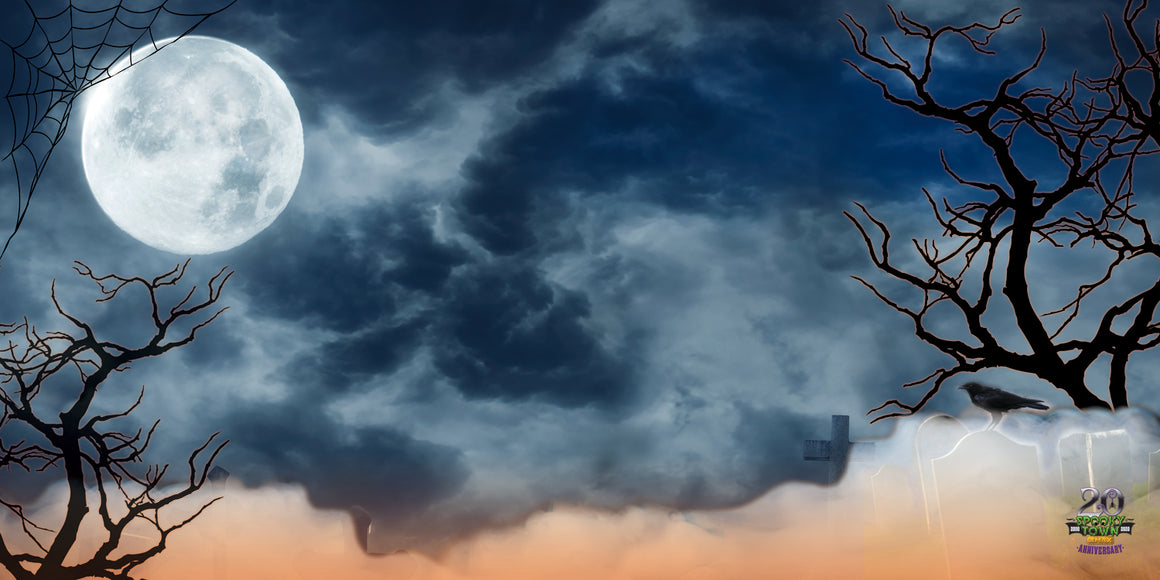 Lemax Spooky Town 20th Anniversary Backdrop - Spooky Moon