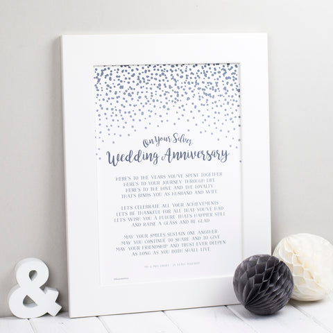 Silver Wedding Anniversary Poem Print