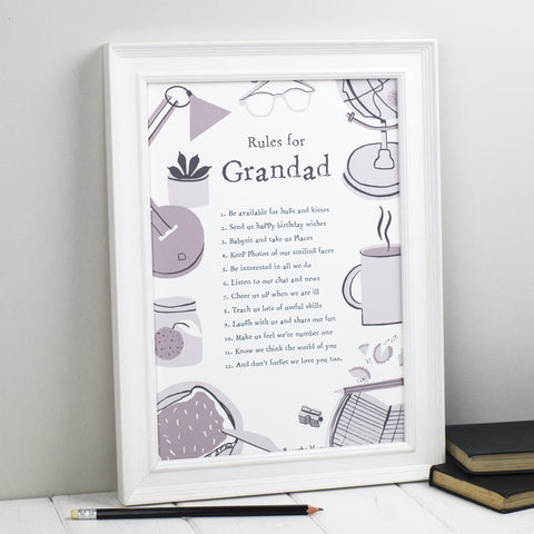 Rules For Grandfathers Personalised Print