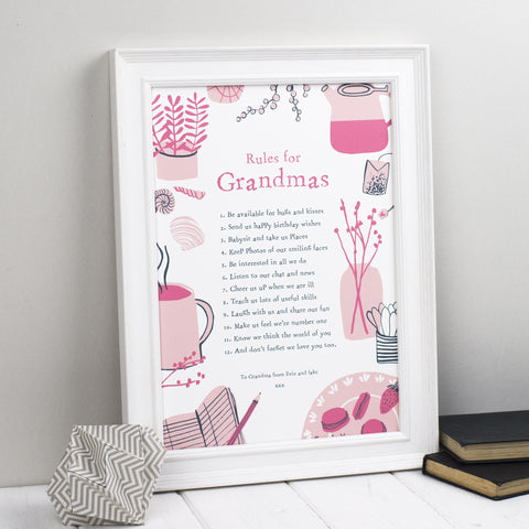 Rules For Grandmothers Personalised Print