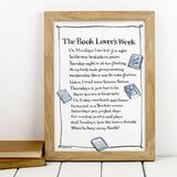 'The Book Lover's Week' Poem Print