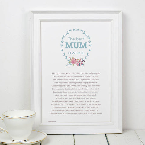 'Best Mum Award' Floral Poem Print