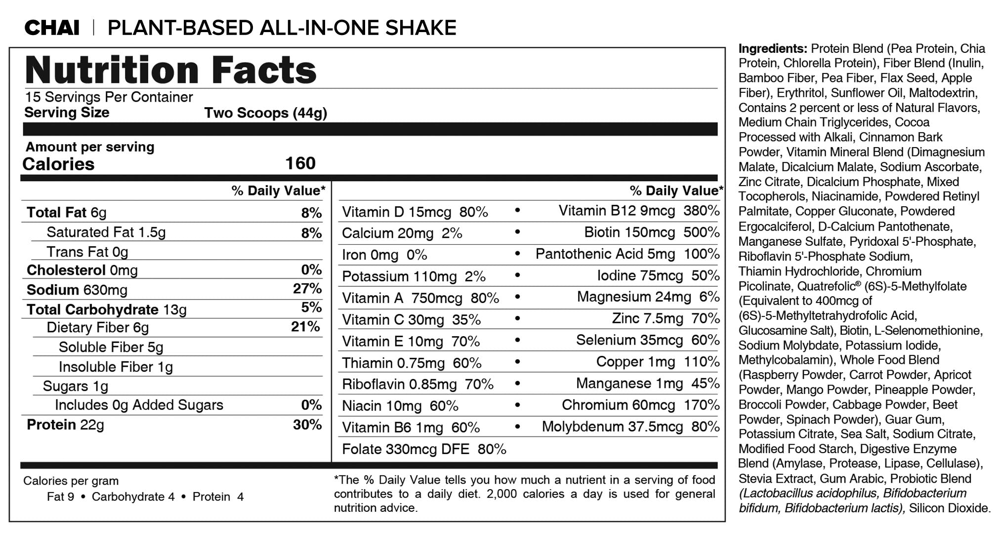JJ Virgin Chai Shake Nutrition Info
