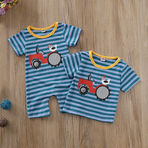 Red Tractor Romper or T-shirt