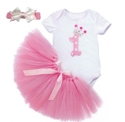 1st Birthday Ensemble in Pink