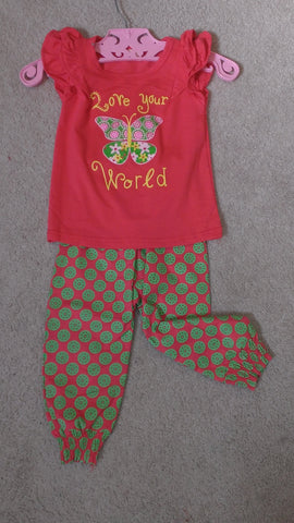 Red and Green Pants Set with Butterfly