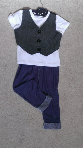 Boys Black Herringbone Vest Pants Set