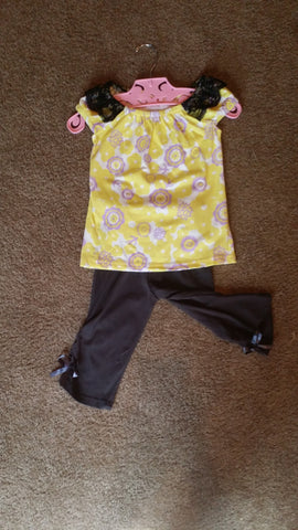Black and Yellow Capri Set