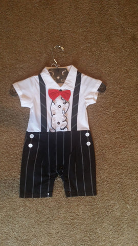 Infant Boys Black and White Tuxedo-look Set