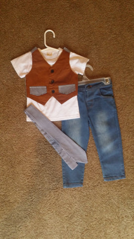 Boys Jeans, Shirt, Tan Vest and Tie