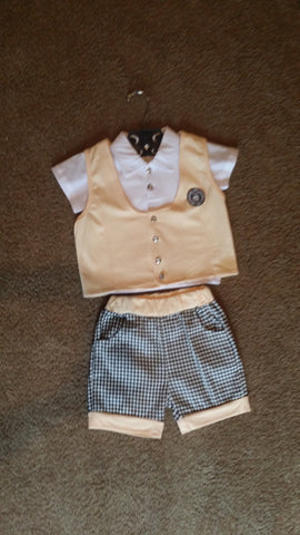 Boys Yellow and Black Shorts Set