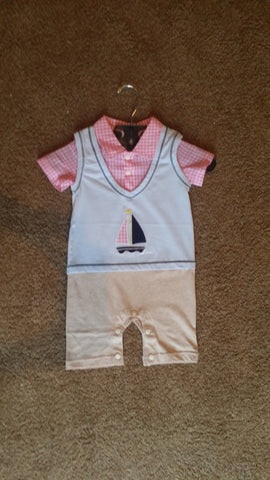 Infant Boys Pink and Blue with Sailboat