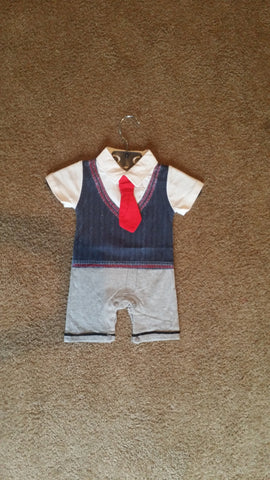 Boys Navy Set with Red Tie