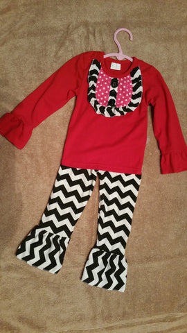 Red & Pink with Black Chevron Ruffled Pants Set