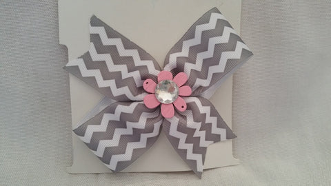Grey Chevron with Pink Center Flower and Gemstone