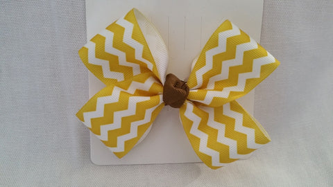 Gold Chevron with Brown Accent Hair Bow