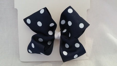 Navy and white Polka Dot Hair Bow