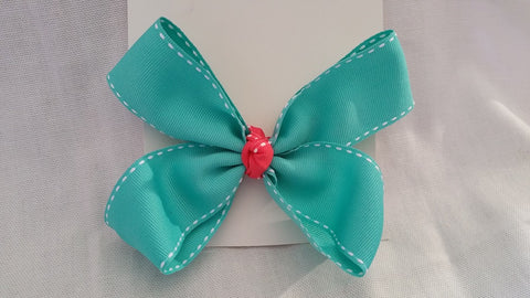 Aqua and Salmon Colored Bow
