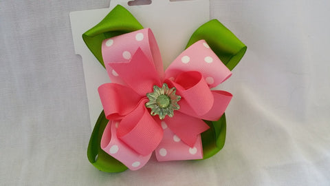 Pink & Green Triple Bow with Daisy Center