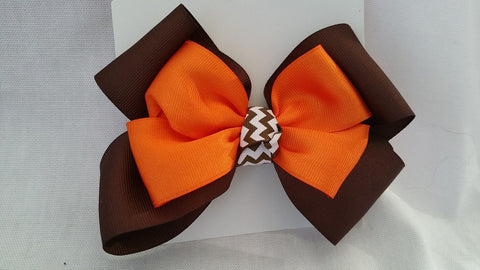 Brown & Orange Hair Bow