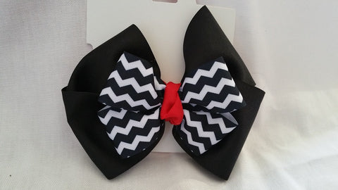 Black, Red, & White Hair Bow