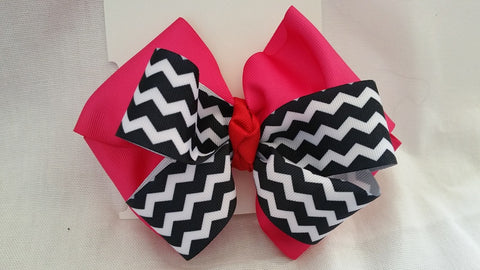 Pink, Black, & Red Hair Bow