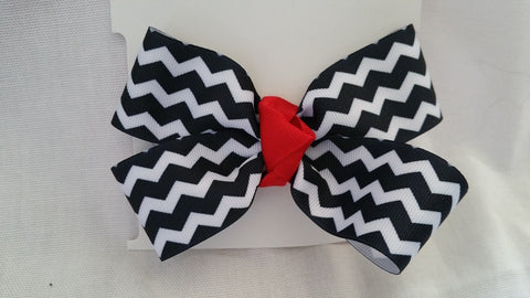 Black & White Chevron with Red Accent Hair Bow