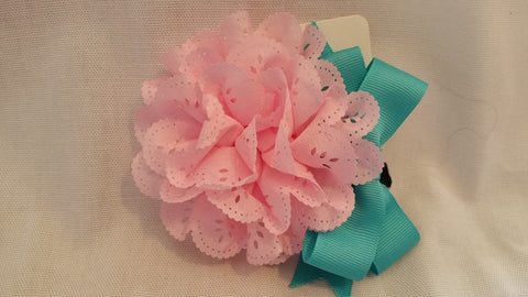 Aqua Marine Blue and Pink Hair Bow