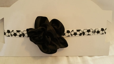 Black and White Big Girls Soccer Headband