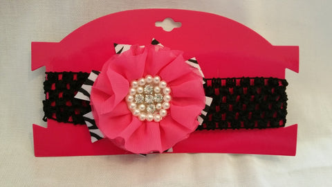 Hot Pink & Black Infants Headband