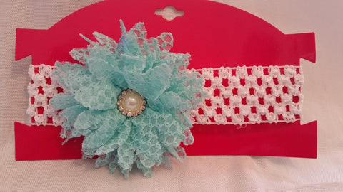 Aqua & White Lacy Flower Headband