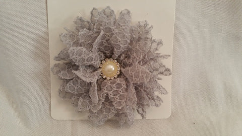 Light Grey Lacy Bow
