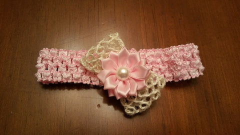 Ivory Bow with Colorful Flower Hairbow