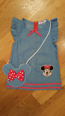 Denim Dress with Mouse inspired matching Purse