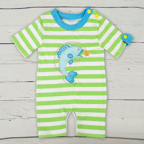 Green Striped Fish shortalls