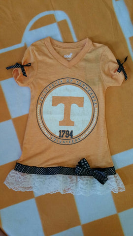 Orange Tennessee T-shirt with Lace & Ribbon Trim