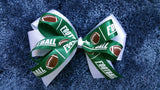 Green Football Double Bow
