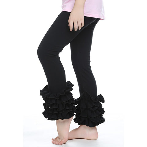 Solid Color Ruffled Pants
