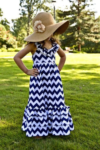 Blue Chevron Halter Dress