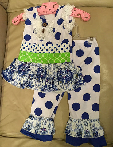 Blue Polka Dot Capri Set