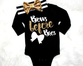 """Bows Before Bros"" Bodysuit and Headband"