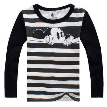 Black and White Striped Mickey Mouse T-Shirt