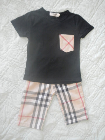 Black, Red, and Khaki Plaid Long Shorts Set