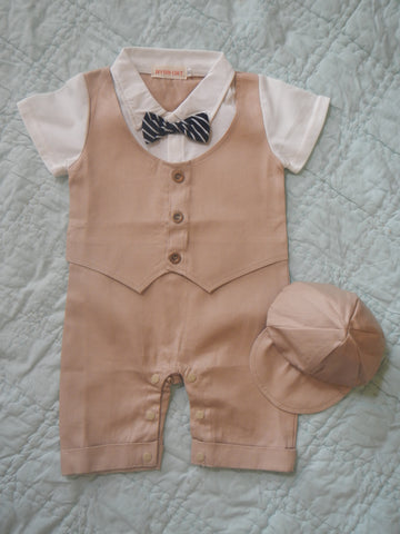 Infant Boys Khaki Suit with Cap