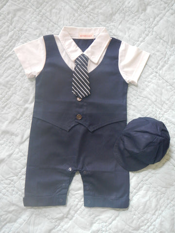 Infant Boys Navy Suit with Hat