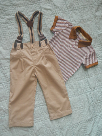 Khaki Suspender Pants with Striped Polo Shirt