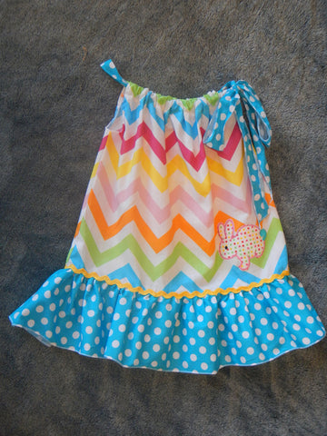 Bunny Chevron Pillowcase Dress